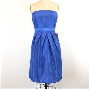 J Crew Blue Silk Taffeta Strapless Party Dress